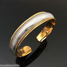 18K Yellow & White Gold Filled Two Tone Bangle (BG-180)