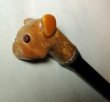 Antique vtg c1930s Art Deco Bulldog DOG Head Cane WALKING STICK Wood & BAKELITE