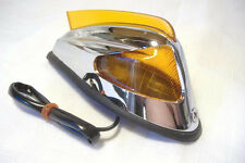 "Sidecar Amber Fender Marker Light 5"" With Lighted Fin Chrome Motorcycle"