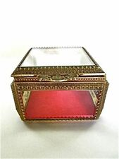 Antique French Ormolu Gold Metal and Beveled Crystal Jewelry Trinket Box