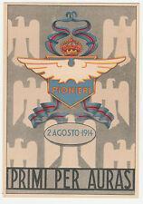 CARTOLINA 1914 MILITARE PRIMI PER AURAS PIONIERI DELL' AERONAUTICA RIF 14096