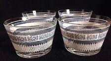 Set Of 4 Vtg Jeannette Patrician Blue Greek Key Gold Rim Dessert/Sherbert Bowl