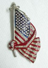 Rare Antique Enamel & Rhinestone Patriotic 48 Star American Flag Brooch Pin