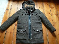 THE KOOPLES BROWN  JACKET, XL, 12-14, FUR COLLAR & LEATHER TRIM