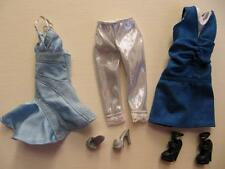 Disney Hannah Montana Doll Miley Cyrus Clothes Silver/Blue Dresses Shoes Legging