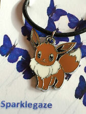 "BRAND NEW POKEMON ""EEVEE"" BLACK FAUX LEATHER NECKLACE CHRISTMAS GIFT (65)"