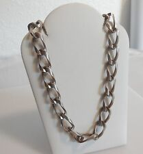 Heavy Vintage Sterling Silver Chain Link Choker/Necklace - 15 Inches - 45 Grams