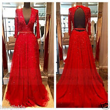LONG SLEEVE V NECK OPEN BACK TULLE BEAD FORMAL EVENING PROM DRESS PAGEANT GOWNS
