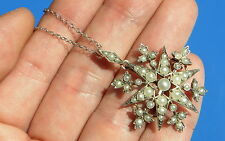 Antique Victorian Seed Pearl Starburst Pendant & Necklace