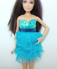 SPARKLE GIRLZ BARBIE & SKIPPER DOLL AQUA YELLOW POLKA DOT TIERED RUFFLE DRESS