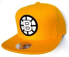 Boston Bruins NHL Mitchell & Ness Yellow Hat Cap w/ Black & White Logo Snapback