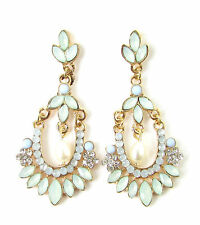 Mint Green Faux Opal Gold Silver Earrings Chandelier Vintage Stud 1920s Blue 445