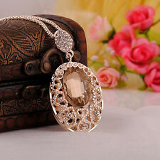 Fashion Ladies Crystal Rhinestone Pendant Gold Chain Statement Necklace Jewelry