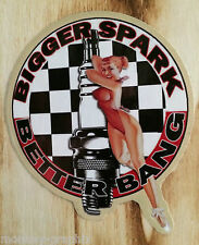"Pin up autocollant old school ""Bigger spark"" vintage rockabilly/Autocollant usa"