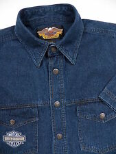 HARLEY DAVIDSON MOTORCYCLES MENS SMALL BIKER SHIRT STYLISH DENIM BLUE LOGO RARE