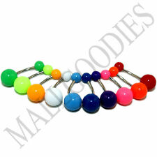 W011 Acrylic Belly Naval Rings Barbell Plain Colors Pink Teal Turquoise LOT 10
