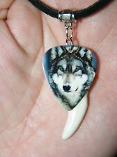 """GRAY WOLF NECKLACE HOWLING WOLVES WHITE Coyote TOOTH CHOKER! 27"""" Black Leather"""