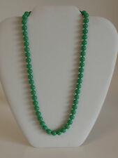 "Vintage Emerald Green Glass Bead Necklace Strand 19"" Japan Made Silver Box Clasp"
