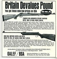 1968 small Print Ad of JL Galef BSA Monarch Deluxe & Meteor Super Air Rifle