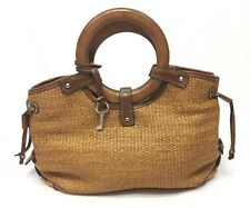 Fossil Handbag Woven Straw Rattan Wooden Circle Handle Purse Satchel Casual