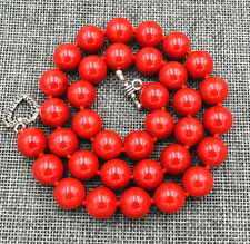 "New 12mm Red Marine Coral Necklace 18"" Tibetan silver love clasps"
