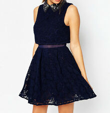 Branded Embellished Collar Lace Crop Top Mini Skater Party Dress UK 10/EU 38