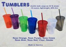 Personalized 16 oz Clear, Spiker Tumbler, Plastic cup lid straw Dbl Walled cup