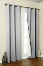 2 GREY SILVER PANEL THERMAL LINED MADONNA BLACKOUT GROMMET WINDOW CURTAIN DRAPE