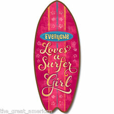 SurfBoard Surfing EVERYONE LOVES A SURFER GIRL Large Nautical, Beach Wood Sign