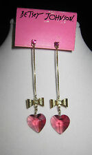 BETSEY JOHNSON RARE  PINK LUCITE HEART WITH BOW DANGLE EARRINGS & PEARL