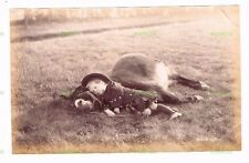OLD SCOTTISH ALBUMEN PHOTO BOY WITH LAZY DONKEY - CHARLES REID WISHAW C.1890