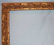 Vintage Large Ornate Gold Gilt Wood Picture Art Mirror Frame 20 x 32 Image Area