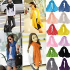 Trency Lady Women Pure Color Soft Long Crinkle Scarf Wraps Shawl Stole Scarves