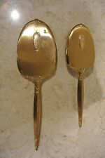 "Vintage Brass Vanity Set Brush and Hand Mirror - Monogrammed ""P"""