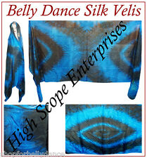 BELLY DANCE PURE SILK VEIL HAND TIE-DYE Blue/Black 45X108''