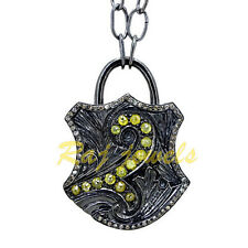 1.37Ct Pave Diamond Victorian Style Padlock Necklace Silver Pendant Jewelry