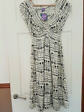 BNWT by Purple - Cream & Black Jacquard Cards Dress - Size Large