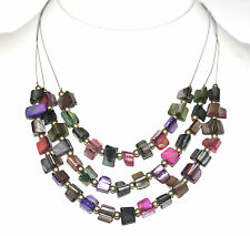 Mother of Pearl Multi Color Sea Shell Ocean Triple Layer Wire Beaded Necklace