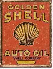 Golden Shell TIN SIGN metal poster vintage auto garage gas & oil wall decor 1973