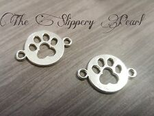 Paw Print Charms Pendants Connectors Paw Charms Dog Charms Antiqued Silver 10pcs