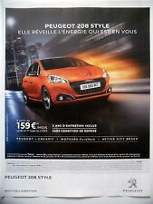 PUBLICITE-ADVERTISING :  PEUGEOT 208 Style  2016 Voitures