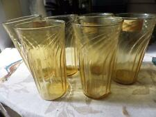 Vintage Kitchen Tumblers Gold Amber Swirl Retro Set of 6