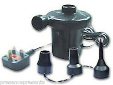UK MAINS 240v AIR PUMP BLOW UP VALVE HOLE ELECTRIC INFLATOR AIR BED LILO LK