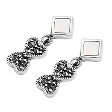 Marcasite Heart to Heart Stud Earrings Sterling Silver Jewelry Mother of Pearl