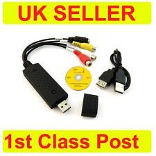 UK USB VIDEO DVD VHS DC60 CAPTURE GRABBER ADAPTER CABLE AV RCA S-Video Win 10