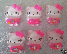 6 Hello Kitty Cabochons Cerise & White Cards Craft Jewellery & Sewing 2 x 1.5 cm