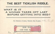 POSTCARD  COMIC   The  Best  Ticklish  Riddle  What is it a woman ....
