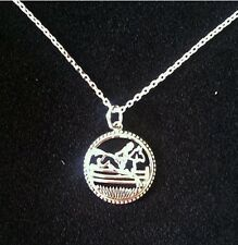 "STERLING SILVER NECKLACE WITH JUMPING HORSE PENDANT 16"" CHAIN AND 2"" EXTENTION"