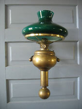 C GRAY 1900S SHIP CHANDLER Large Gimbaled Kerosene Brass Wall Lamp w shade