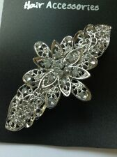 A Pretty Silver Flower Metal Barrette Hair Clip